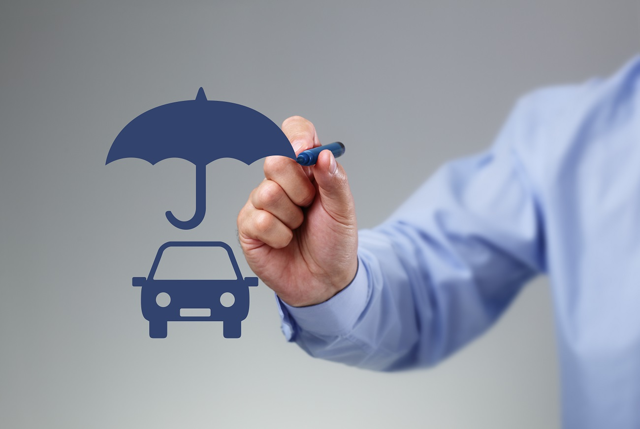 Drawing umbrella over car